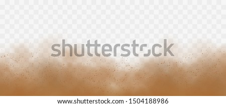 Sandstorm with particles on transparent background.