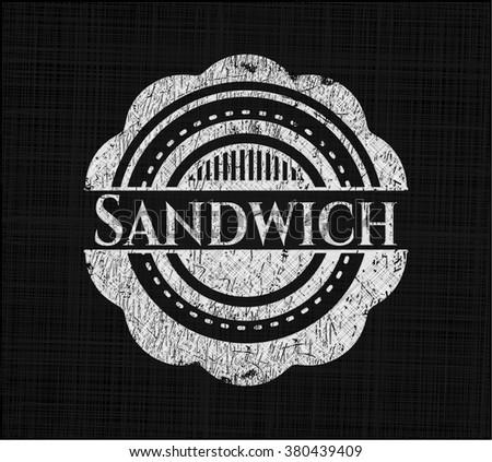 Sandwich chalkboard emblem written on a blackboard