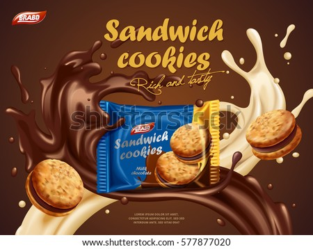 sandwich cookies ads  milk