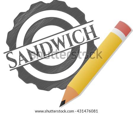 Sandwich drawn with pencil strokes