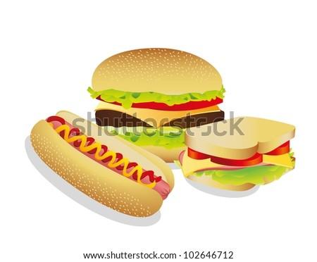 Sandwich, hot dog and hamburguer, vector illustration