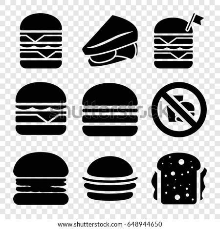 Sandwich icons set. set of 9 sandwich filled icons such as burger, sandwich, double burger with flag, cheeseburger, double burger