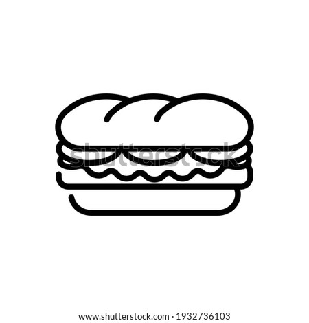Sandwich Line Icon Isolated On White Background Foto stock ©
