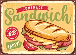 Sandwich sign. Retro poster template with tasty snack. Fast food menu vector design.