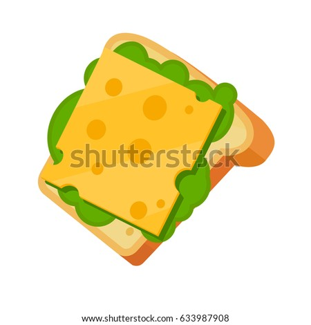 sandwich with cheese and lettuce for food illustration