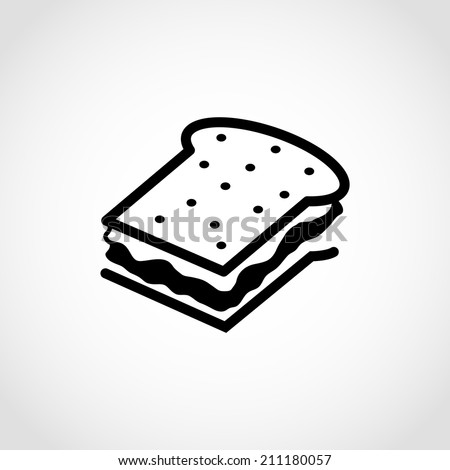 Sandwich with cheese Icon Isolated on White Background