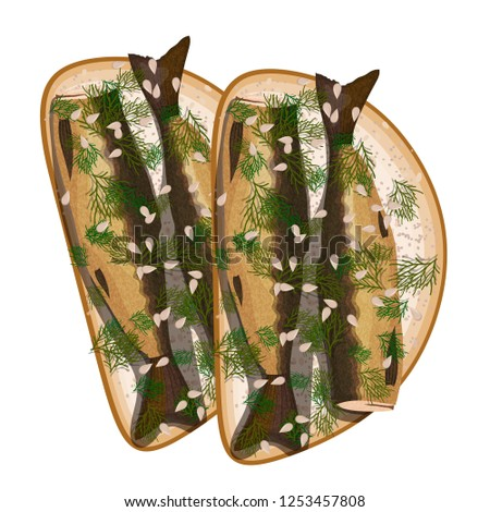 sandwich with sprats and dill