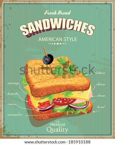 Sandwiches Vector illustration American style Vintage Ingredients label
