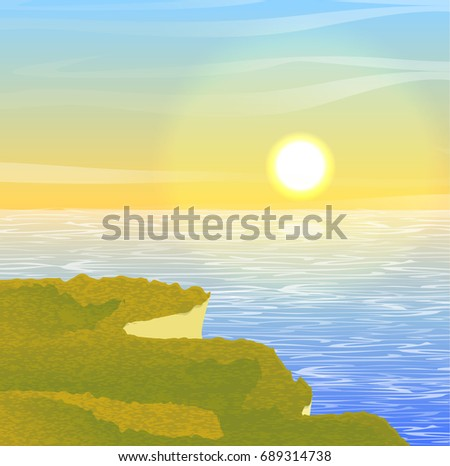 Sandy cliff overgrown with grass over the ocean, sea, lake or river. Bay. Sunset or dawn sun, sky, clouds. Summer or autumn vector landscape, can be used in newsletter, brochures, postcards, banner