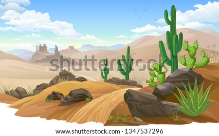 Sandy desert, Saguaro cactus vegetation. Mountain like sand dunes.