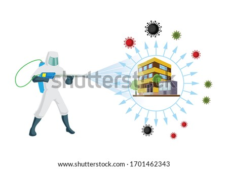 Sanitize and disinfectant services at office and home for virus, germs and insects removal with complete pest control. Vector illustration of a Man wear a safety dress for sanitize and remove virus.