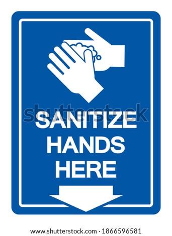 sanitize hands here symbol sign