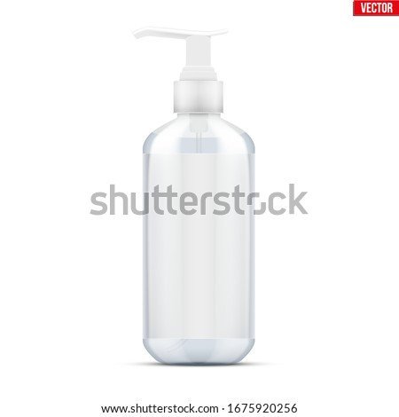 Sanitizer bottle spray with gel. Disinfectant Container with pump dispenser and label. Safety in an epidemic and pandemic. Vector Illustration isolated on white background.