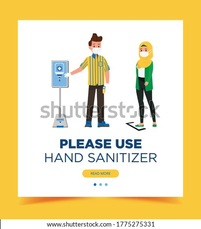 Sanitizer service point,Ikea staff ask customer to use sanitizer before entering public areas. full uniform flat design