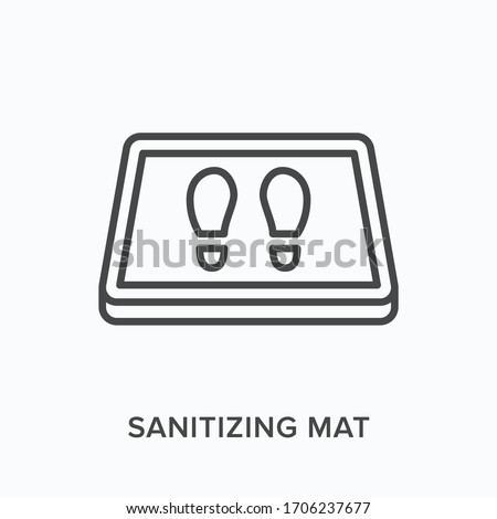 Sanitizing mat line icon. Vector outline illustration of antibacterial equipment. Industrial shoe disinfection pictorgam Foto stock ©