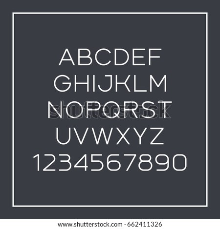 Sans-serif font with elegant thin lines. Vector alphabet with latin letters and numbers
