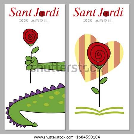 Sant Jordi. Catalonia traditional celebration. Two points from the book of Sant Jordi Photo stock ©