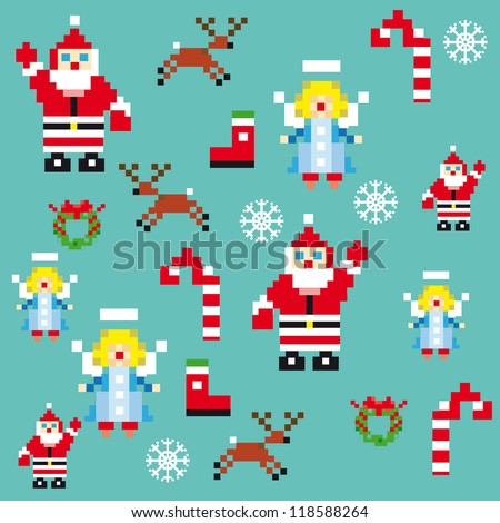 Santa and angels pixel characters christmas design template. Seamless pattern background vector illustration for decoration or gifts paper