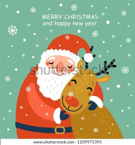 santa and deer christmas card