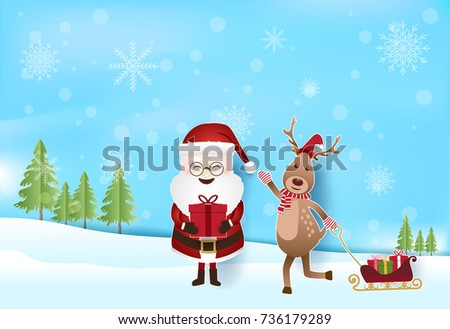 santa and deer with gift boxes pulling sleigh with snow and