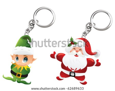 Santa and elf - stock vector