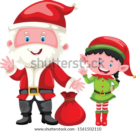 santa and elf christmas cartoon