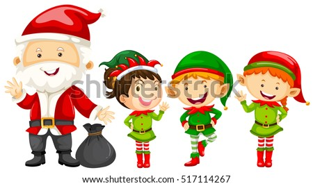 Santa and elves for christmas illustration