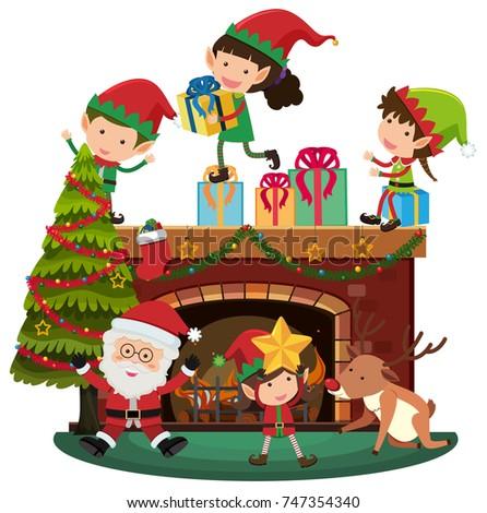 santa and elves on christmas