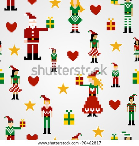 Santa and elves pixel characters christmas design. Seamless pattern background vector illustration.
