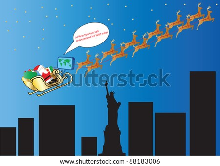 Santa and his Reindeer following Satellite Navigation over New York and the Statue of Liberty suitable for Gift Wrap or Greeting Card