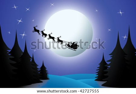 Santa and his reindeers flying over winter country on full moon night