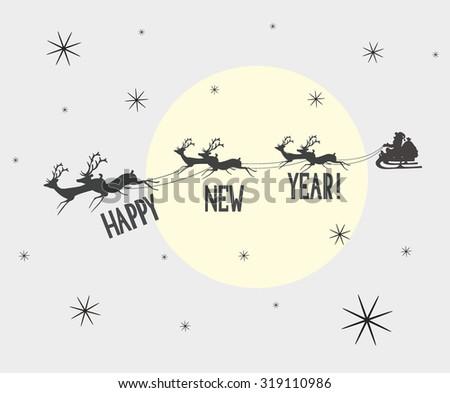 santa and reindeer in the sky