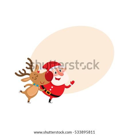 santa and reindeer skate and