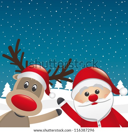 santa and reindeer wave hands winter landscape