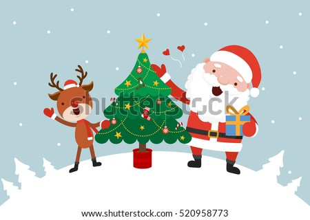santa and reindeer with