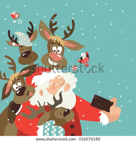 santa and reindeers take a