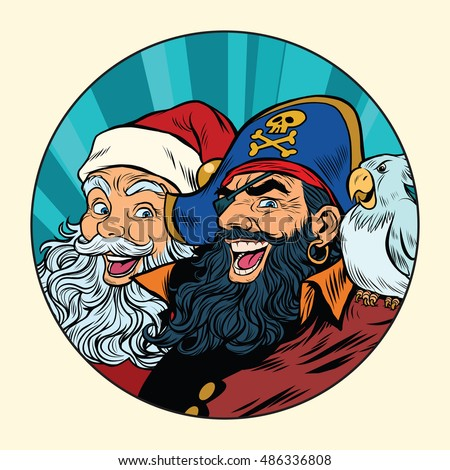 Stock Photo Santa and the pirate, pop art retro vector illustration