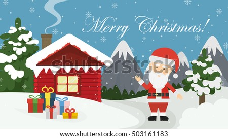 stock-vector-santa-at-home-beautiful-scene-of-santa-claus-near-christmas-house-in-snow-dark-sky-with-stars