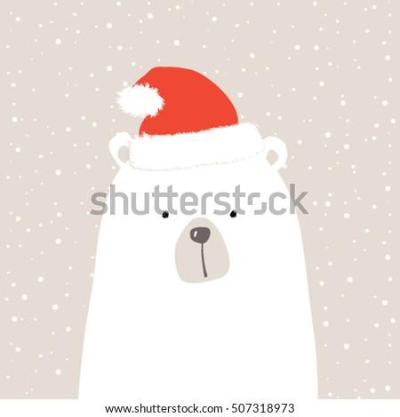 santa bear   christmas card