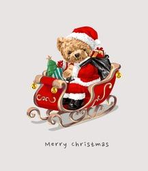 Santa bear doll riding sleigh illustration