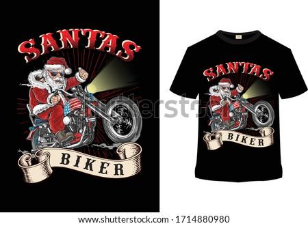 santa biker  motorcycle t shirt
