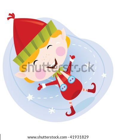 Santa christmas elf in red costume. Cute christmas elf in red. Vector cartoon Illustration. - stock vector