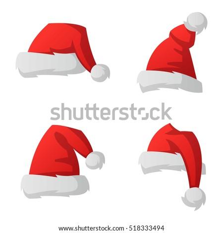 Shutterstock Santa christmas hat vector illustration.
