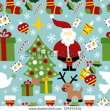 Santa Christmas seamless pattern. Vector illustration layered for easy manipulation and custom coloring.