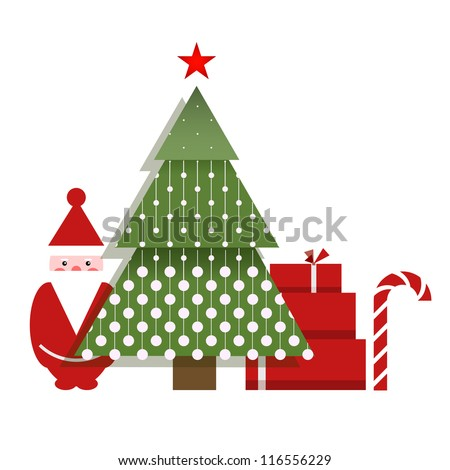 Santa Christmas Tree Presents and a Candy. Vector EPS10 graphic illustration of Christmas gifts and Santa.