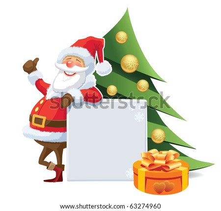 Santa Claus advertising with blank poster and christmas tree