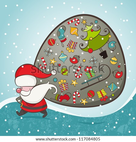 Santa Claus and bag with gifts. Christmas Card. EPS 8 vector illustration.