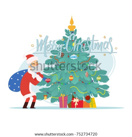 Santa Claus and Christmas tree. Christmas greeting card - background - poster. Vector illustration. #752734720