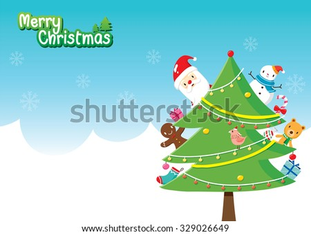 Santa Claus And Christmas Tree Decoration With Ornaments Merry Xmas Happy New Year