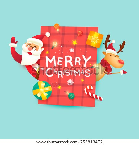 Santa Claus and deer. Merry Christmas and Happy new year. Poster. Flat design vector illustration.